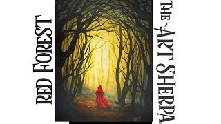 Download How to paint Acrylic Dark Fairy tail Woods Red Riding Hood LIVE Video