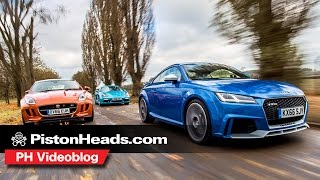 Download Audi TT RS v Porsche 718 Cayman S v Jaguar F-Type Coupe S| PH videoblog | PistonHeads Video