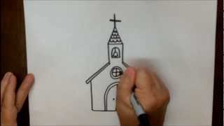 Download How to Draw a Church Step by Step Simple Easy Tutorial Video