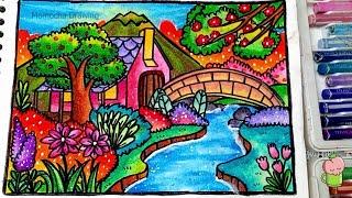 Cara Menggambar Kebun Binatang Dan Mewarnai Dengan Crayon Gradasi
