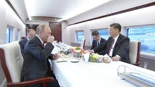 Download Chinese President Xi and Russian President Putin takes the CRH to Tianjin Video