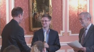 Download New Edward Snowden video: WikiLeaks release rare footage of Snowden in Russia collecting award Video