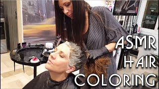 Download ✂️ Relaxing Hair Coloring at Salon - ASMR no talking - Dying Roots and little Massage Video