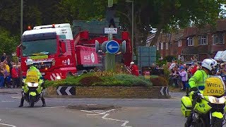 Download 70m 145 tonne lorry meets small Surrey roundabout. Video