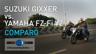 Download Suzuki Gixxer Vs Yamaha FZ-Fi v2.0 : ChooseMyBike.in Review Video