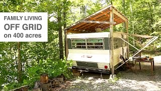 Download Family Living Off Grid in Camper Trailer & Tree House Style Studio Video