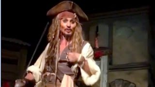 Download Johnny Depp surprises Disneyland guests as Jack Sparrow in Pirates of the Caribbean ride Video