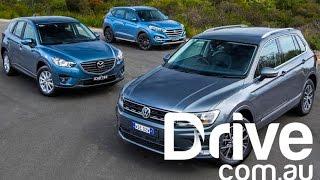 Download 2017 Volkswagen Tiguan v Mazda CX-5 v Hyundai Tucson | Drive.au Video