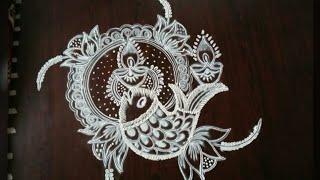 Download Creative Dewali rangoli..simple depavali muggu..5 to 3 dots..Easy rangoli designs.. Video
