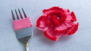 Download Modern Hand Embroidery , Easy Flower Embroidery Trick with Fork, Rose Flower Video
