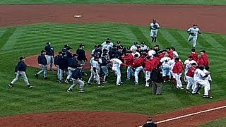 Download ALCS Gm3: Red Sox Martiez, Ramirez, Yankees Clemens, Zimmer in benches-clearing Video