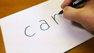 Download Easy! How to turn words CAR into a Cartoon for kids - Let's Learn drawing art on paper Video