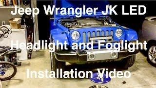 Download Jeep Wrangler JK LED Headlight Foglight Installation Video Video