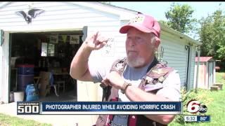Download Photographer injured whole avoiding horrific crash at Indy 500 Video