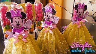 Download Como decorar tubitos de lentejitas de acrílicos con vestido de Minnie dorada, tutu, tull, fiesta Video