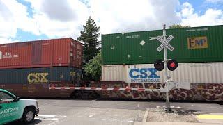 Download UP 2564 Intermodal Train North, K St. Railroad Crossing, Sacramento CA Video
