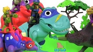 Download Черепашки Ниндзя Мультик! T-REX WITH ДИНОЗАВРЫ ИГРАЮТ В ФУТБОЛ! TMNT Динозавры для Детей Video