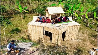 Download Build Jute Stick Hut - Primitive Rest House For Relaxing - Patkhati Ghor Video