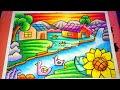 Download Cara Menggambar Dan Mewarnai Pemandangan Alam Rumah, Air Terjun dan Pegunungan | Drawing Scenery Video
