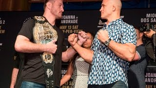 Download Stipe Miocic vs. Junior dos Santos 2 UFC 211 Media Day Staredown - MMA Fighting Video