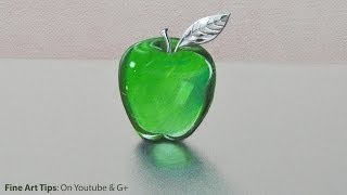 Download How to Draw Glass: a Crystal or Acrylic Green Apple - Fine Art-Tips. Video