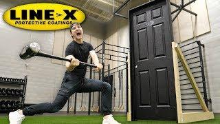 Download THIS SPRAY MAKES ANY DOOR UNBREAKABLE!! (LINE-X UNBREAKABLE DOOR EXPERIMENT) Video