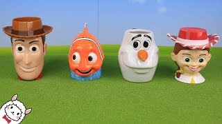 Download Toy Story Finding Nemo Frozen Olaf おもちゃ フェイスマグカップとビーズ Surprise Eggs Toys Disney Pixer Video