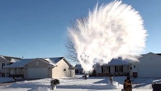 Download Making Snow with Boiling Water *HUGE MPEMBA EFFECT* experiment at SUB-ZERO temperatures Video