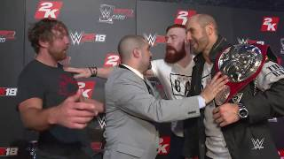 Download Dean Ambrose & Seth Rollins nearly brawl with Sheamus & Cesaro at WWE 2K18 event Video