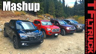 Download 2017 Honda Ridgeline vs Toyota Tacoma vs GMC Canyon vs Nissan Frontier Mega Mashup Review Video