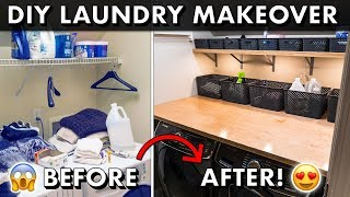 Download DIY LAUNDRY ROOM MAKEOVER w/ Plywood Countertops & Organization! 🧺 Video