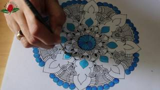 Download mandala drawing coloured with acrylic paint : doodle 5 Video