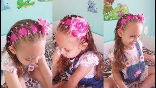 Download Penteado Infantil tiara com cabelo, ligas, fita e flor Video