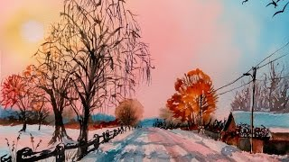 Download Snowy Rural Road in Watercolor & One Point Perspective Drawing Video