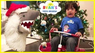 Download Bad Santa Pet Shark Attack! Magic transform into Christmas Present! Kid Prank Toy Shark eat Snack Video