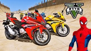 Download MOTOS com Homem Aranha e Heróis! Saltos na Mega Rampa com SUPER MOTOS - GTA V Mods - IR GAMES Video