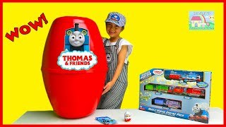 Download ENORMOUS SURPRISE EGG Toys Unboxing Thomas & Friends Train Playset Kinder Egg Surprises ToyReview Video