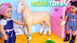 Download American girl baby dolls cleaning the doll horse stables house! 🎀 Video