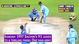 Download SHARJAH 1997 INDIA vs ENGLAND | Sachin's 91 leads to a thrilling finish! Video