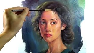 Download Art Oil painting girl portrait on canvas Video