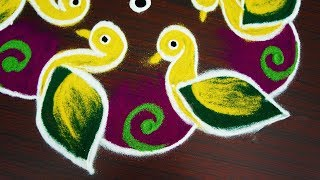 Download Latest nd unique bird muggulu design with 7x4 dots simple easy RANGOLI KOLAM design Video