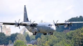 Download Lockheed C-130J-30 Hercules    Low pass and Landing in Berne HD Video