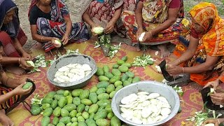 Download 50 KG Green Mango Prepared / Cooking By Villagers For Charity Foods To feed Children Video