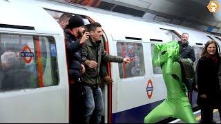 Download Football Hooligans prevent Green man boarding London metro train 2020 Video