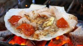 Download Japanese Street Food - OSAKA SEAFOOD Giant Scallops, Oysters, Sea Urchin Japan Video