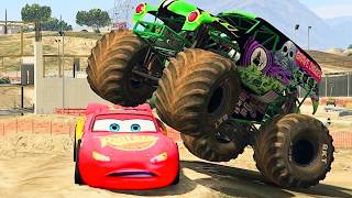 Download Lightning Mcqueen Vs Monster Jam Grave Digger, Chicks Hick / GTA V Disney Monster Mods Video