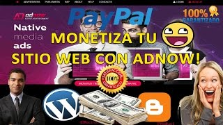 Download COMO GANAR DINERO MONETIZA TU WEB ADNOW ALTERNATIVA A ADSENSE 2017 / PAYPAL Video