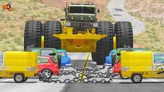 Download Beamng drive - Giants Machines Crushes Cars #4 (Giants Wheels crush cars) Video