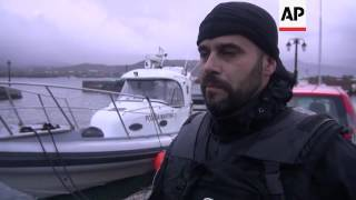 Download Migrants arrive to Lesbos; Frontex ship embed Video