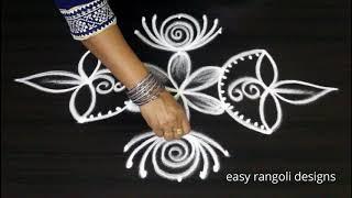 Download Beginners Deepam rangoli with 5 dots for Diwali 2018 - Simple kolam designs - Deepavali Muggulu Video